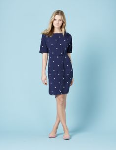 Chic Belted Dress in Navy Spot