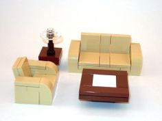LEGO Furniture: 4 Piece Seating Set (Tan) w/ couch, chair & tables  lot,town  #LEGO