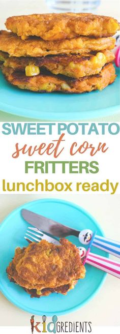 These sweet potato and sweet corn fritters are the perfect dinner side, lunchbox filler or just afternoon snack! #kidsfood #vegetarian #vegetables #sweetpotato via @kidgredients