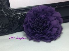 "3"" Purple chiffon puff flower - chiffon flower - fabric flowers - wholesale flower - headband supplies - hair clip flower - diy supplies on Etsy, $1.15"