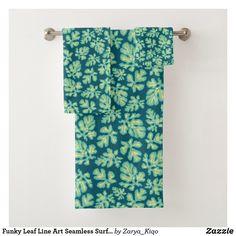 Bath Towel Sets, Bath Towels, Tropical Leaves, Surface Pattern Design, Artwork Design, Beautiful Patterns, Line Art, Print Design, Prints