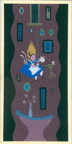 """Mary Blair, """"Visual development of Alice falling down rabbit hole"""" for """"Alice in Wonderland,"""" 1951, gouache on paperboard. (Courtesy Walt Disney Family Foundation / Eric Carle Museum of Picture Book Art)"""