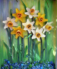 Narcisos hueveras pintura reciclaje