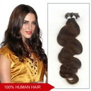 20 Inch Body Wavy 100pcs 1g/s Grade AAA Nail Tip Remy Hair Extensions 100g (#4 Chocolate Brown)
