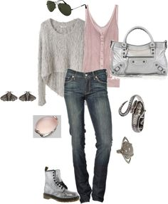"""""""Soft"""" by mandevilla ❤ liked on Polyvore... With different boots!"""