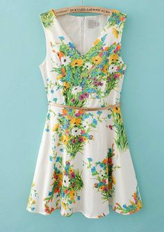 White V-neck Sleeveless Floral Belt Dress