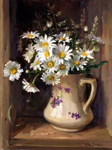Ann Cotterill   OIL                             Oxeye Daisies with Grasses