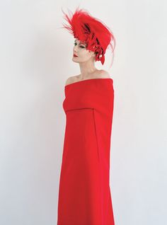 The New Guard: Couture's Outré Attitude - Birley wears Valentino Haute Couture dress; Philip Treacy hat.