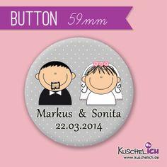 """personalisierter """"Brautpaar"""" Button ♥ 59 mm von Kuschelich auf DaWanda.com"""
