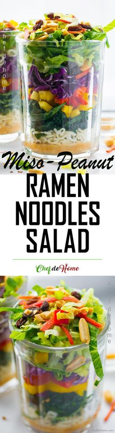 Miso Peanut Noodles Salad in Jar for Summer Picnic. Ramen Noodle Salad has creamy, sweet and spicy Miso-Peanut Butter and Sriracha Salad Dressing. Every fork-full of this Asian Salad has something delicious to offer - crunchy cabbage, carrots, and Ramen noodles coated in sweet and spicy peanut buttery dressing. Plus roasted peanuts for nutty crunch. Ready in just 15 minutes. Check recipe at chefdehome.com #picnic #summer #memorialday #salads #saladinjar #plantbased #ramen #ramnenoodle…