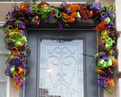 halloween garland swag halloween door swag halloween decor halloween mantle decor halloween halloween garlandby halloweendeco mesh - Deco Mesh Halloween Garland