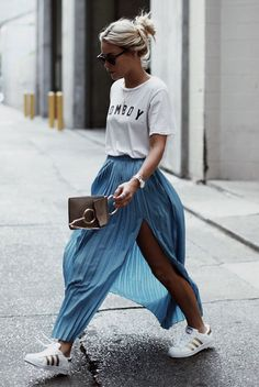 spring outfit, summer outfit, casual outfit, street style, comfy outfit, sneakers outfit, athleisure outfit, street chic style, edgy outfit, summer trends 2016, fall trends 2016 - white graphic t-shirt, blue pleated midi skirt, blue pleated skirt, blue midi skirt, white sneakers, adidas stripe sneakers, adidas superstars, black mirror sunglasses, grey suede clutch