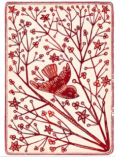 bird & branch - admire the linocut or woodcut styling