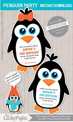 Penguin party invitation. Girl and Boy Penguin Invitation for your Penguin Party.