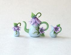 miniature lavender & blue teapot set