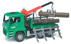 Bruder Toys Man Timber Truck with Loading Crane and 3 Trunks by Bruder. $45.42. From the Manufacturer                Timber! Manipulate the three included plastic logs with the working claw crane attached to the bed of the truck, then secure them by raising the hinged side gates and fastening the chains. When it's time to unload, the bed can be tilted back to dump the logs into position. Other features include a tilting cab with realistic engine to view, folding mi...