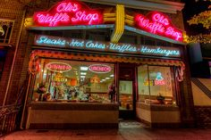 Day 335 - Ole's - Waffle shop by night #photoaday #project365 #Waffles #Alameda #Dinner #Neon #HDR #OlesWaffleShop