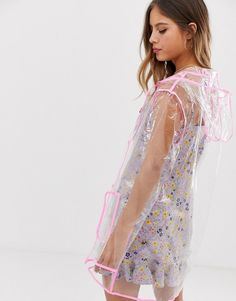 Browse online for the newest Brave Soul transparent rain mac with neon pink binding styles. Shop easier with ASOS' multiple payments and return options (Ts&Cs apply). Rain Mac, Neon, Macs, Mode Online, Cute Fashion, Brave, Latex, Kimono Top, Cover Up