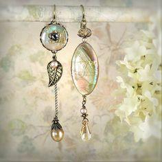 Daybreak Asymmetrical Earrings - Mermaid Earrings - Beach Wedding - Sea Shell Earrings - Petite Length - Cream, Ivory, Beige, Vanilla