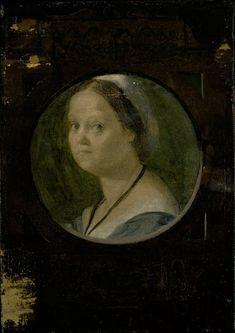 Andrea del Sarto Italian, 1486-1530  The Wife of Domenico da Gambassi, 1525/28  Oil on panel 8 7/8 x 6 1/4 in. (22.5 x 15.9 cm) Inscribed with monogram in cartouche below roundel