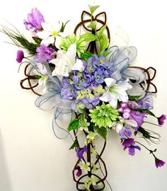 Cemetery Floral Memorial Grapevine Cross - Springtime Breeze, Cemetery Flowers, In Memory Flowers, About this Product:  This beautiful natural
