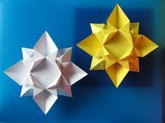 Origami: Fiore o stella 2 - Flower or star 2. Designed and folded by Francesco Guarnieri, September 2007. http://guarnieri-origami.blogspot.it/2012/11/fiore-o-stella-2-e-una-variante-del.html
