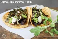 Portobello & Purple Potato Tacos - sandwiches and wraps - Potatoes Recipes Vegan Mexican Recipes, Vegetarian Recipes, Healthy Recipes, Ethnic Recipes, Vegetarian Lunch, Fast Recipes, Potato Tacos, Purple Potatoes, Finding Vegan