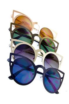 - Women's Fashion Sunglasses with UV 400 lens - Metal Frames - Cat Eye Style - Cut Out Ear Detail - Multiple-Colored Assortment - Soak up the sun in style!