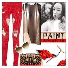 """Paint Splatter"" by melindairenes ❤ liked on Polyvore featuring Balmain, STELLA McCARTNEY, Christian Louboutin, Oscar de la Renta, paintsplatter and thanksdearfriend"