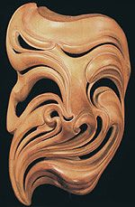 "European Clown Mask. Venice, Italy Natural wood. Signed ""de Marchi"" of Venice and dated ""84,"" this highly abstracted mask is truly a work of art. Made by Livio de Marchi, a famous Venetian sculptor."
