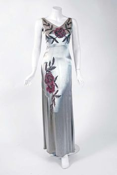 1930's Silver Silk-Satin Beaded Embroidered Bias-Cut Evening Gown & Bolero   From a collection of rare vintage evening dresses at https://www.1stdibs.com/fashion/clothing/evening-dresses/