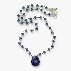Blue Kyanite and Blue Lapis Drop Necklace, Sterling Silver, by Margo Morrison | Strung Bead & Stone Necklaces | Fortunoff Fine Jewelry