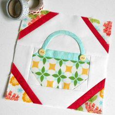 Block 235 - Button Basket. Another Splendid Sampler block using the pretty Summerfest fabrics.
