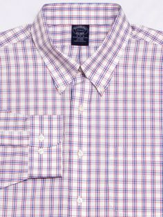 MINT-Men-039-s-BROOKS-BROTHERS-L-S-Shirt-18-34-35-XL-White-Checks-NON-IRON-Cotton