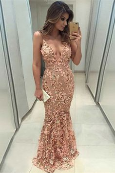 unique pink mermaid prom dresses, elegant spaghetti straps evening gowns with appliques, chic party dresses with lace