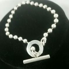 AUTH GUCCI Sterling silver Beaded Bracelet Toggle Good condition, ,no major marks, or scratches other than normal wear. Comes with  pouch Gucci Jewelry Bracelets