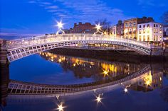 Ha'penny Bridge Reflection At Night - Dublin Print by Barry O Carroll Photography Words, Types Of Photography, Outdoor Photography, Customs House, Dublin City, Different Types, Blue Hour, Types Of Lighting, Cloudy Day