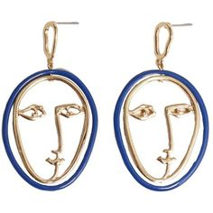 Face Earrings ($13) ❤ liked on Polyvore featuring jewelry, earrings, earring jewelry, two tone earrings, mango jewelry, metallic jewelry and cuff jewelry