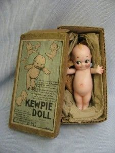 """5 ¼"""" Antique Bisque Rose O'Neill KEWPIE c1913 in Original BOX Signed LABEL  """