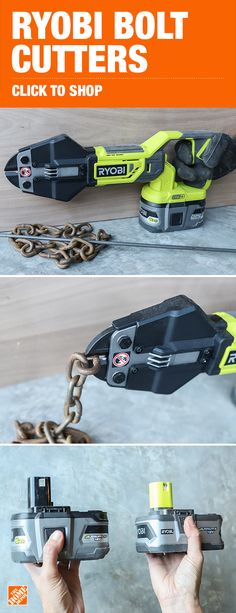 "Jen Woodhouse, influencer behind House of Wood, said the Ryobi 18-Volt ONE+ Cordless Bolt Cutters ""cut right through this rusty chain without any issues at all."" These cordless bolt cutters are compatible with all Ryobi 18-Volt ONE+ batteries and can make more than 200 cuts per charge. Part of the ONE+ family of more than 100 tools, these bolt cutters are a great addition to anyone's Ryobi collection. Click to shop this innovative tool, exclusively at The Home Depot."