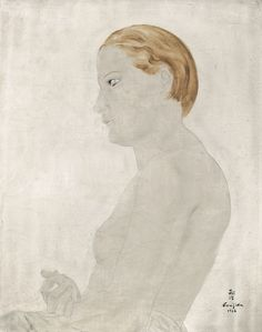 Tsuguharu Foujita 1886 - 1968 PROFIL DE YOUKI Signed Foujita and in Japanese and dated 1926 (lower right) Oil on canvas 16 by 13 in. 41 by 33 cm Painted in 1926.