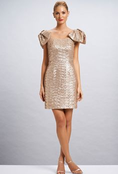 "Brides.com: Bridesmaid Dresses for Destination Weddings. ""Arabella"" sequin dress, $440, Kirribilla  See more gold bridesmaid dresses."