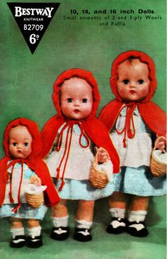 Vintage 1950s BESTWAY B2709 Doll Clothes Knitting Pattern, Cape Little Red Riding Hood Fairytale Pixie Hood, Folk, Antique Vintage Baby