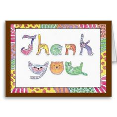 The cat's meow Thank You Greeting Card