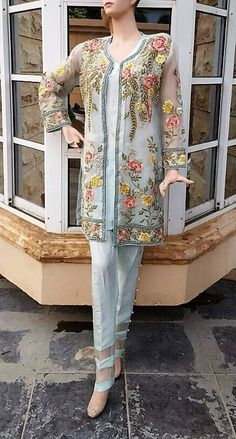 Pakistani Dress- Elan Eden Collection Inspired Embroidered Jacket with Cigarette Pants, Pakistani, Indian, Bollywood Mint Shalwar Kameez Pakistani Fashion Casual, Pakistani Dress Design, Indian Fashion, Trajes Pakistani, Pakistani Dresses, Kurta Designs Women, Blouse Designs, New Dress Pattern, Pantalon Costume