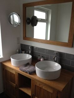 Wow - Double door oak cabinet with matching Milano basins and matching mirror - www.clickbasin.co.uk - customer photo