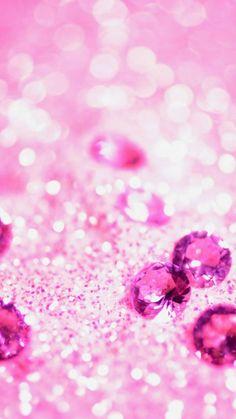 【新着9位】沢山のピンクの宝石   ガーリーなキラキラiPhone壁紙