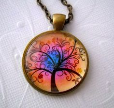 Art Glass New Day Tree Pendant Necklace with a by lucindascharms, $12.00