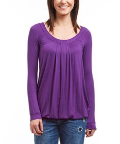 This Casa Lee Purple Blouson Tunic by Casa Lee is perfect! #zulilyfinds