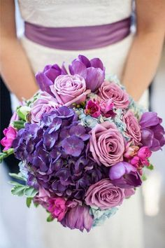 Pretty purple wedding bouquet {Photo courtesy Birds of a Feather Events via Project